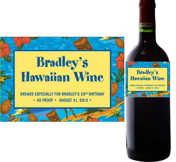 Hawaiian Shirt Wine Bottle Labels