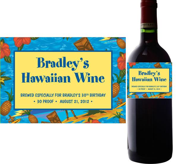 Hawaiian Shirt Wine Bottle Labels