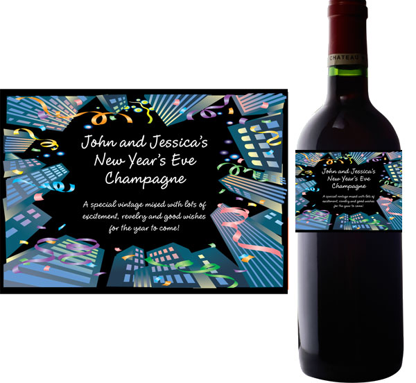 New Years Downtown Wine Bottle Label