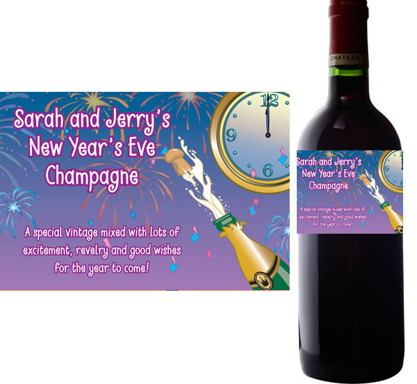 A New Years Eve Toast Wine Bottle Label