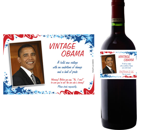 President Obama Theme Wine Bottle Label