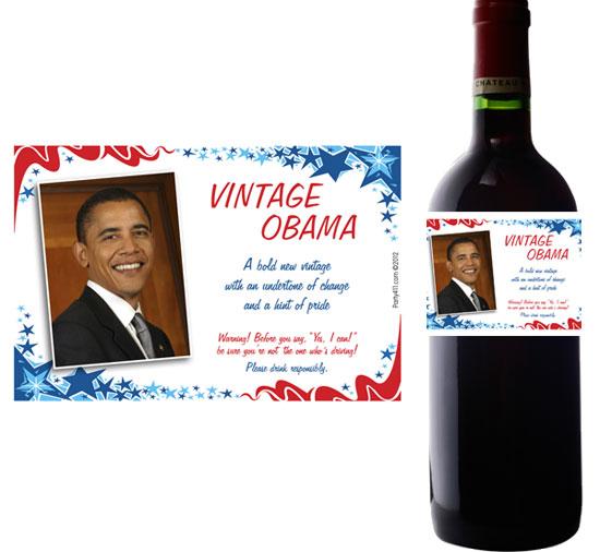 President Obama Theme Wine Bottle Label