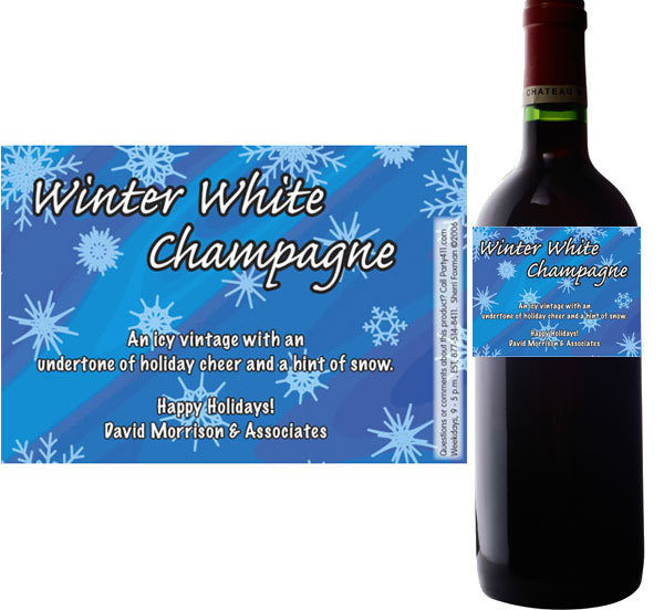 Winter Snow Wine Bottle Label / Personalized label for your holiday wine