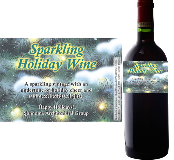Winter Holidays Theme Wine Champagne Bottle Label / Celebrate the winter holidays with a custom wine bottle label