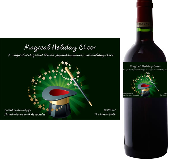 Holiday Magic Wine Bottle Label / Add a bit of holiday magic with a personalized wine bottle