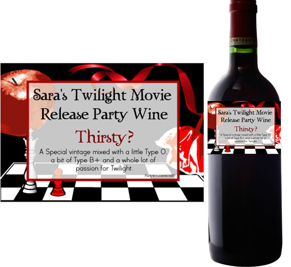 Twilight Wine Bottle Labels / A personalized wine label perfect for your Twilight party