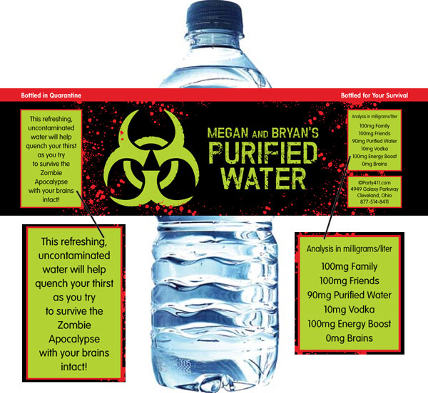 Zombie Theme Bottle Label / Even zombies love water