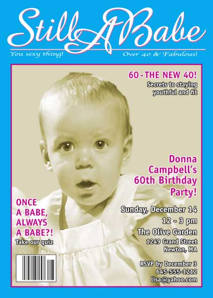 Birthday Babe Photo Magazine Cover Invitation