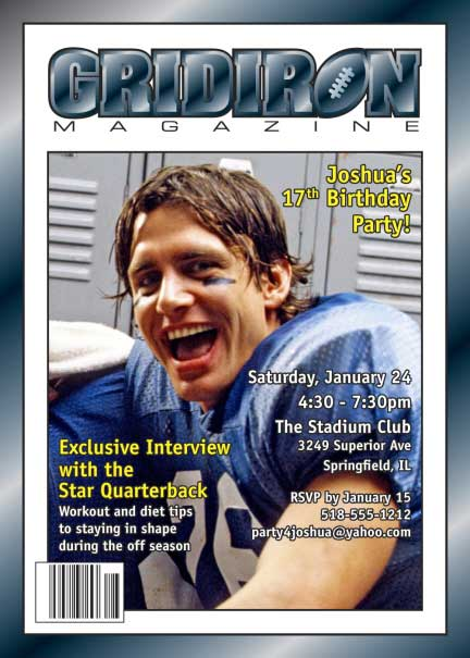 Football Magazine Cover Invitation / This invitation is a touchdown!