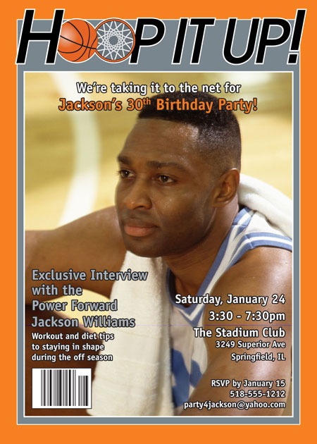 Basketball Magazine Cover Invitation