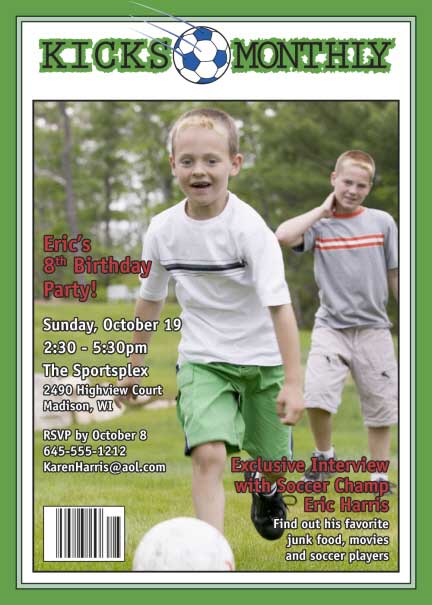 Soccer Magazine Cover Invitation