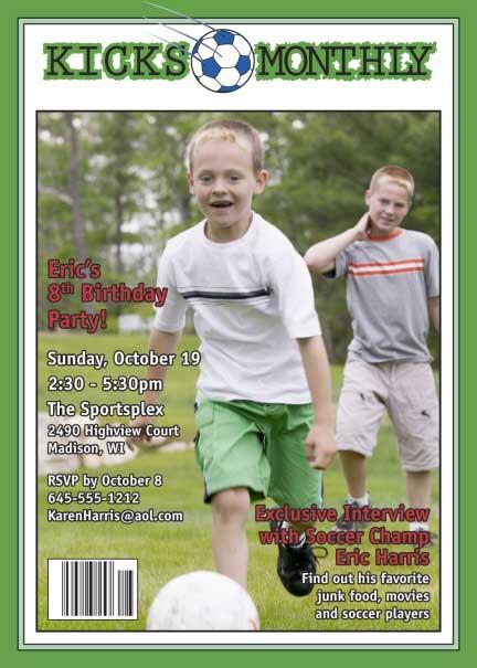 Soccer Magazine Cover Invitation