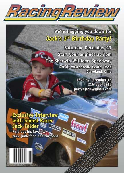 Racing Magazine Cover Invitation