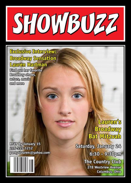 Broadway Showbuzz Magazine Cover Invitation