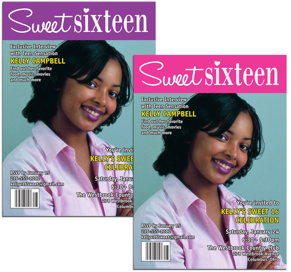 A Custom Sweet 16 Invitation Magazine Cover