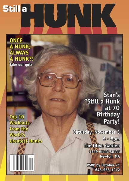 Birthday, Still a Hunk, Magazine Cover Invitation