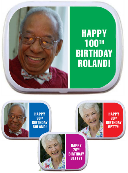 Birthday Photo Milestone Mint Tin / Add a photo and choose your color for this milestone favor