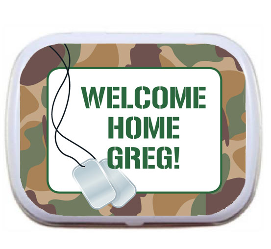 Camouflage Patriotic Theme Mint and Candy Tin / A welcome home soldier party favor