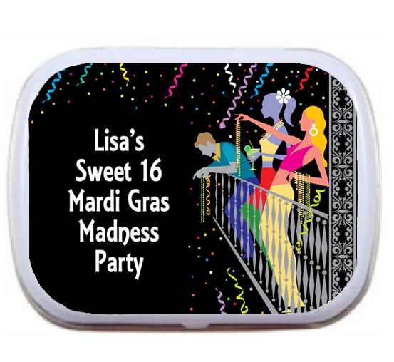 A Mardi Gras Balcony Theme Mint Tin / A personalized Mardi Gras tin filled with candy or mints... perfect!