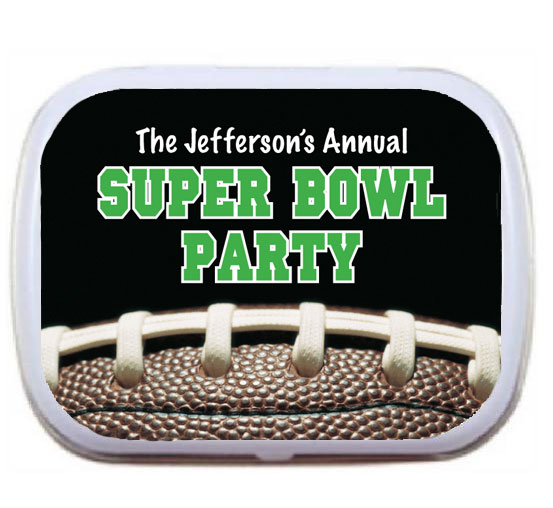 Football Party Mint Tin / A custom candy tin makes a great favor for your Super Bowl party or any football theme celebration.