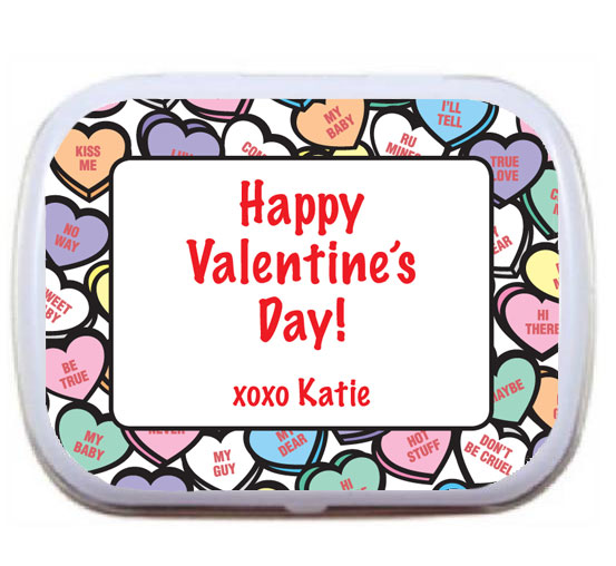 Valentine's Day Candy Hearts Theme Mint Tin