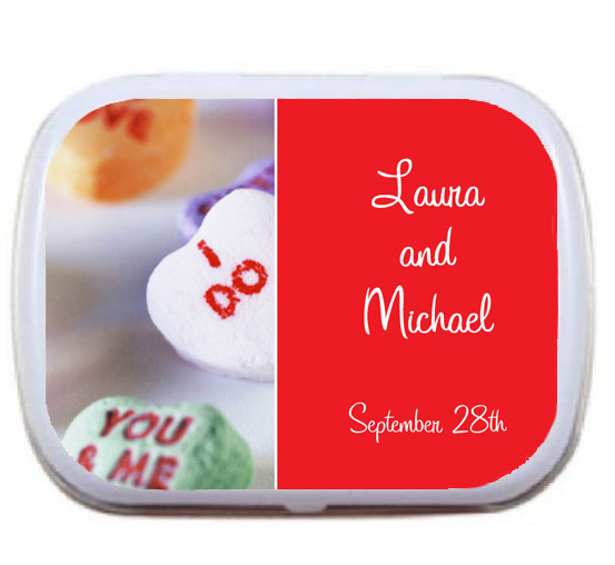 Wedding Mint Tin, Romatic Candy Hearts