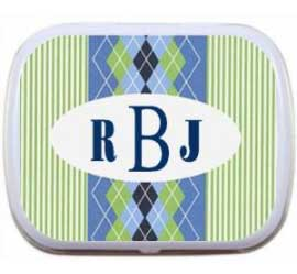 Blue Argyle Monogram Mint Tin