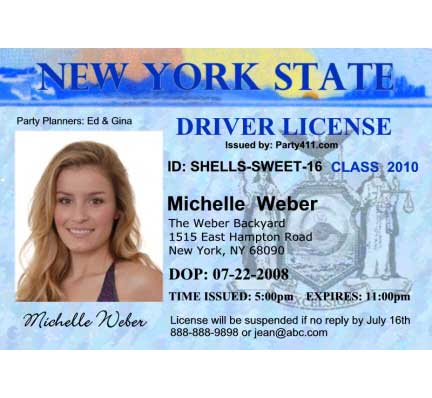 Driver's License Invitation / Drive up the excitement to your party!