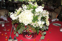 Ohio State graduation party flower centerpiece
