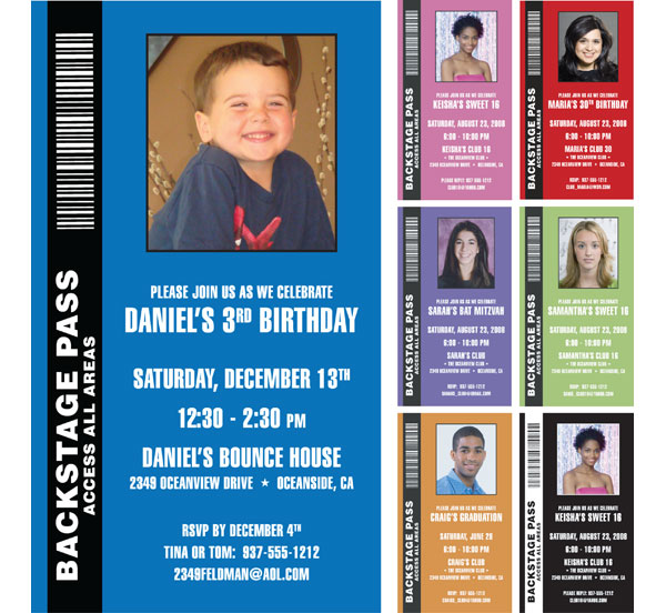 Backstage Pass Invitation, Kids Photo / A backstage pass to a kid's birthday party