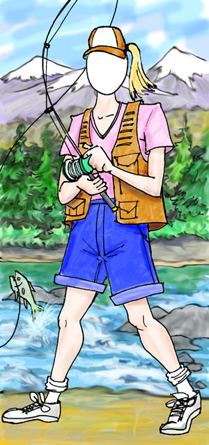 Fishing Female Photo Op / Great for a camping theme party