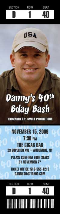 Milestone Birthday Photo Ticket Invitation / He's a good looking guy. Show the world!