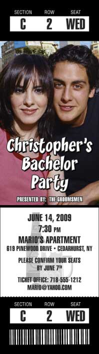 Bachelor Photo Ticket Invitation / It's a bachelor party, the hottest ticket in town.
