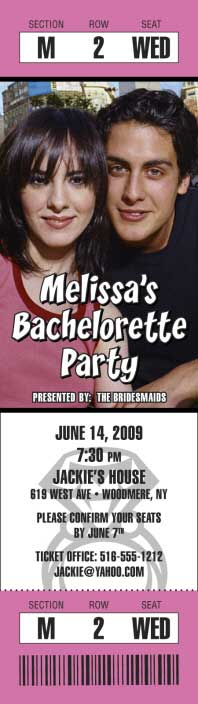 Bachelorette Party Photo Ticket Invitation