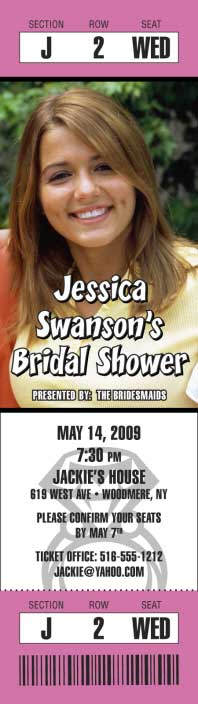 Bridal Shower Photo Ticket Invitation / Your ticket to a memorable bridal shower party.