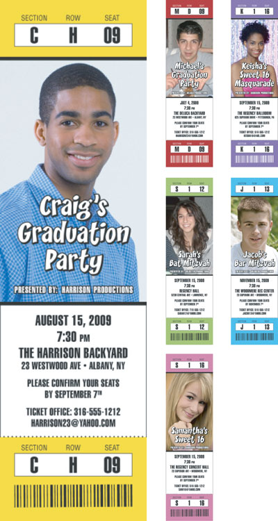 Graduation Colors Photo Ticket Invitation / Choose your school colors for your party. Pick your picture. That's the ticket!