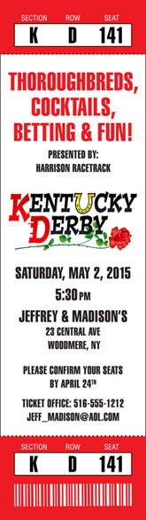 Kentucky Derby Ticket Invitation
