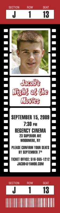 Hollywood Movie Photo Ticket Invitation