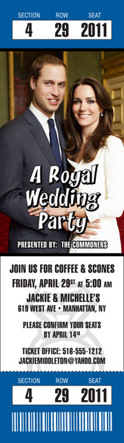A Royal Family Party Photo Ticket Invitation / A ticket to a royal wedding theme party