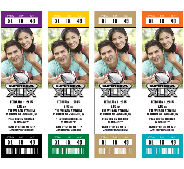 Super Bowl Team Colors Photo Ticket Invitation / Choose 2 team colors for these great Super Bowl photo tickets!