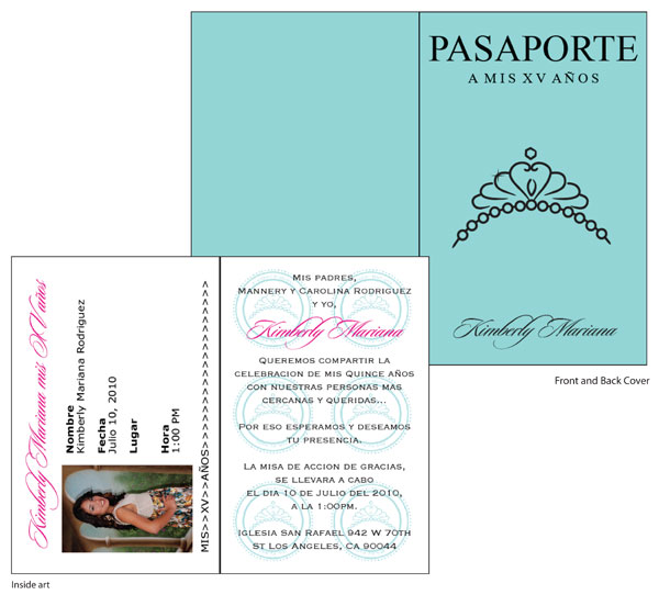 Quinceanara Passport Invitations