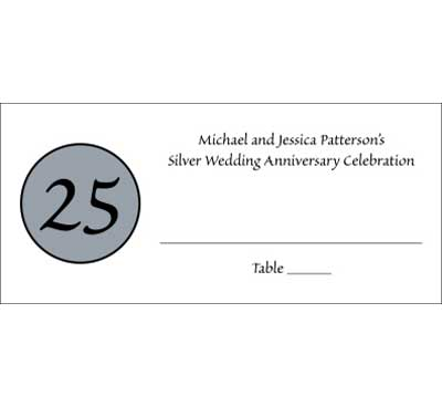 25th Anniversary Theme Seating Card / The perfect seating card for your silver anniversary celebration.