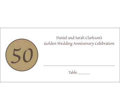 50th Anniversary Theme Seating Card / 50th anniversary seating card