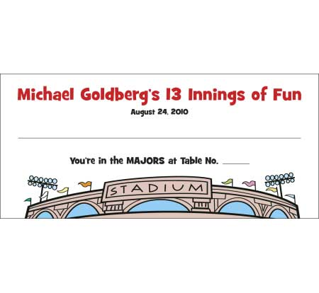Baseball Theme Seating Card
