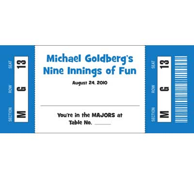 Baseball All Star Theme Seating Card / Have a front row seat to nine innings of fun.