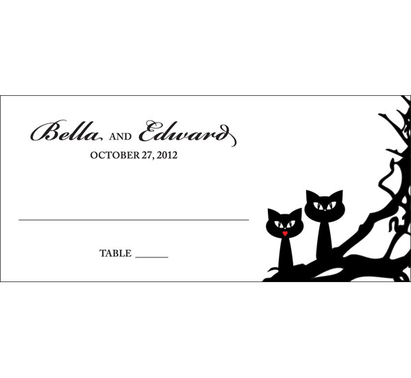 Halloween Wedding Theme Seating Card / A fun Halloween wedding seating card