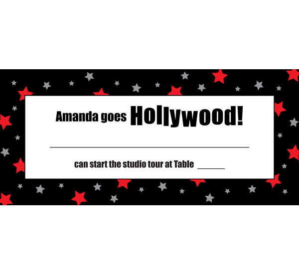 Hollywood Star Seating Card / An excellent choice for your Hollywood party!