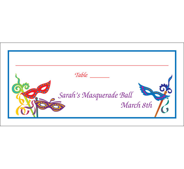 Mardi Gras Masquerade Masks Seating Card