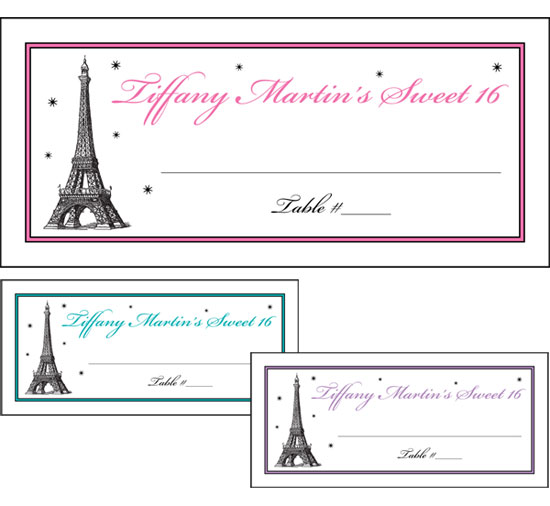 Paris Party Theme Seating Card