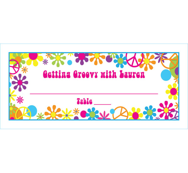 Hippie Retro Theme Seating Card / Groovy seating cards!